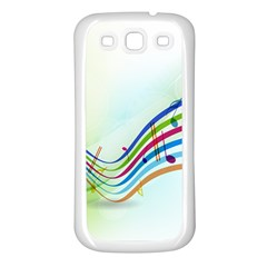 Color Musical Note Waves Samsung Galaxy S3 Back Case (White)
