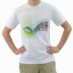 Color Musical Note Waves Men s T-Shirt (White)