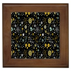 Floral And Butterfly Black Spring Framed Tiles
