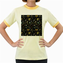 Floral And Butterfly Black Spring Women s Fitted Ringer T Shirts