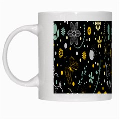 Floral And Butterfly Black Spring White Mugs