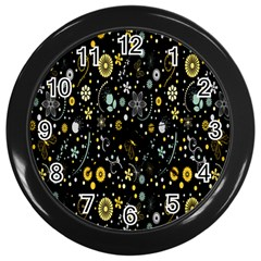 Floral And Butterfly Black Spring Wall Clocks (Black)