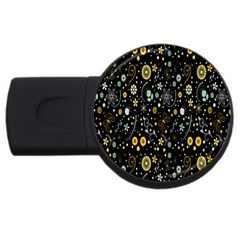 Floral And Butterfly Black Spring Usb Flash Drive Round (4 Gb)
