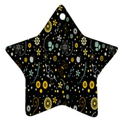 Floral And Butterfly Black Spring Star Ornament (two Sides)