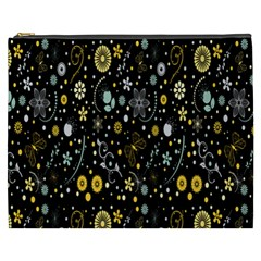 Floral And Butterfly Black Spring Cosmetic Bag (XXXL)