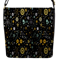 Floral And Butterfly Black Spring Flap Messenger Bag (S)