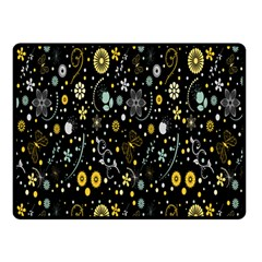 Floral And Butterfly Black Spring Double Sided Fleece Blanket (Small)