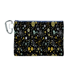 Floral And Butterfly Black Spring Canvas Cosmetic Bag (M)