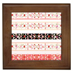 Flower Arrangements Season Floral Rose Pink Black Framed Tiles