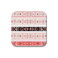 Flower Arrangements Season Floral Rose Pink Black Rubber Coaster (Square)