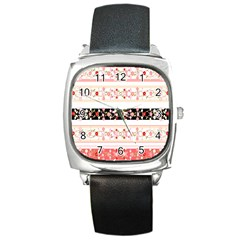 Flower Arrangements Season Floral Rose Pink Black Square Metal Watch