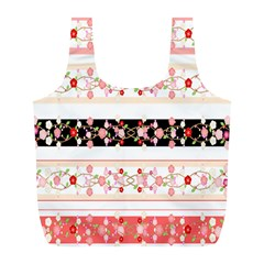 Flower Arrangements Season Floral Rose Pink Black Full Print Recycle Bags (L)
