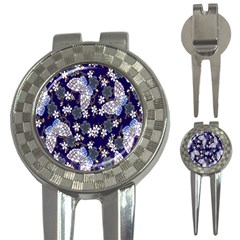 Butterfly Iron Chains Blue Purple Animals White Fly Floral Flower 3 In 1 Golf Divots