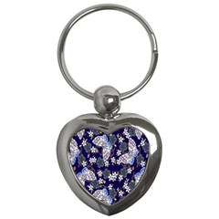 Butterfly Iron Chains Blue Purple Animals White Fly Floral Flower Key Chains (Heart)