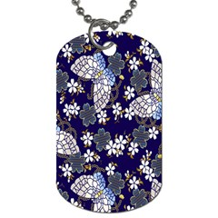 Butterfly Iron Chains Blue Purple Animals White Fly Floral Flower Dog Tag (Two Sides)