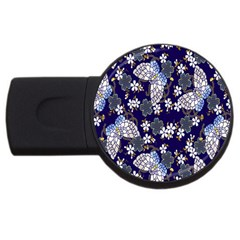 Butterfly Iron Chains Blue Purple Animals White Fly Floral Flower Usb Flash Drive Round (2 Gb)