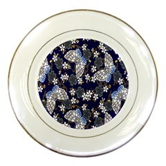 Butterfly Iron Chains Blue Purple Animals White Fly Floral Flower Porcelain Plates