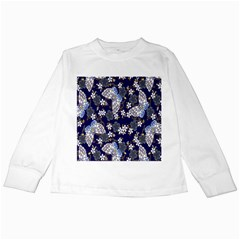 Butterfly Iron Chains Blue Purple Animals White Fly Floral Flower Kids Long Sleeve T Shirts