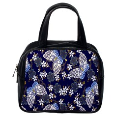Butterfly Iron Chains Blue Purple Animals White Fly Floral Flower Classic Handbags (One Side)