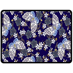 Butterfly Iron Chains Blue Purple Animals White Fly Floral Flower Fleece Blanket (Large)