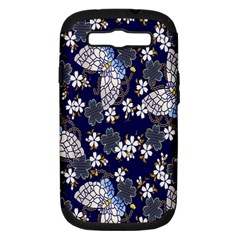 Butterfly Iron Chains Blue Purple Animals White Fly Floral Flower Samsung Galaxy S III Hardshell Case (PC+Silicone)