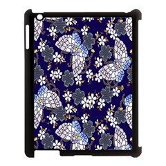 Butterfly Iron Chains Blue Purple Animals White Fly Floral Flower Apple Ipad 3/4 Case (black)