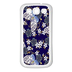 Butterfly Iron Chains Blue Purple Animals White Fly Floral Flower Samsung Galaxy S3 Back Case (White)