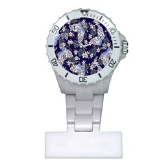 Butterfly Iron Chains Blue Purple Animals White Fly Floral Flower Plastic Nurses Watch