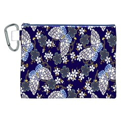 Butterfly Iron Chains Blue Purple Animals White Fly Floral Flower Canvas Cosmetic Bag (XXL)