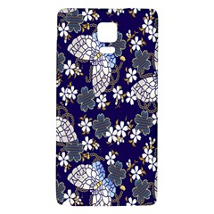 Butterfly Iron Chains Blue Purple Animals White Fly Floral Flower Galaxy Note 4 Back Case