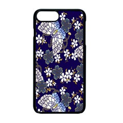 Butterfly Iron Chains Blue Purple Animals White Fly Floral Flower Apple Iphone 7 Plus Seamless Case (black)