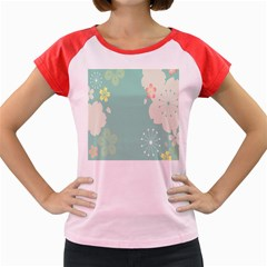 Flower Blue Pink Yellow Women s Cap Sleeve T-Shirt