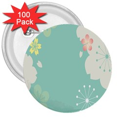 Flower Blue Pink Yellow 3  Buttons (100 Pack)