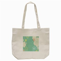 Flower Blue Pink Yellow Tote Bag (Cream)