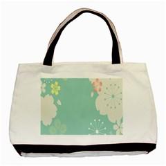 Flower Blue Pink Yellow Basic Tote Bag