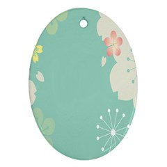 Flower Blue Pink Yellow Oval Ornament (two Sides)