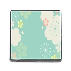 Flower Blue Pink Yellow Memory Card Reader (square)