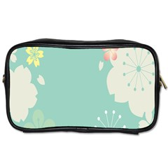 Flower Blue Pink Yellow Toiletries Bags 2 Side
