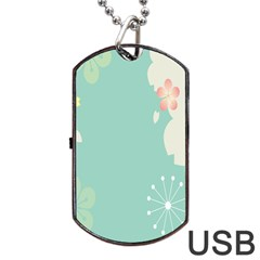 Flower Blue Pink Yellow Dog Tag USB Flash (Two Sides)