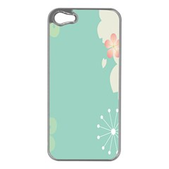 Flower Blue Pink Yellow Apple iPhone 5 Case (Silver)
