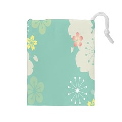 Flower Blue Pink Yellow Drawstring Pouches (Large)