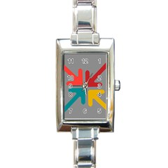 Arrows Center Inside Middle Rectangle Italian Charm Watch