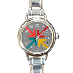 Arrows Center Inside Middle Round Italian Charm Watch
