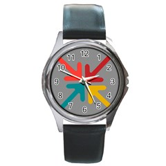 Arrows Center Inside Middle Round Metal Watch