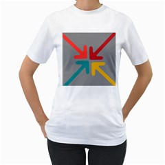 Arrows Center Inside Middle Women s T-Shirt (White) (Two Sided)