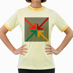 Arrows Center Inside Middle Women s Fitted Ringer T Shirts