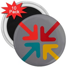 Arrows Center Inside Middle 3  Magnets (10 pack)
