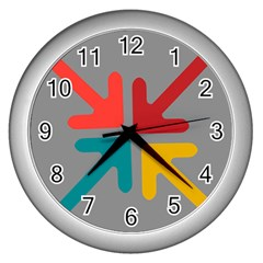 Arrows Center Inside Middle Wall Clocks (silver)