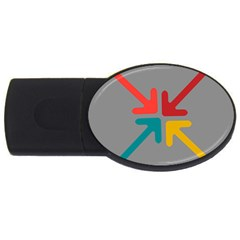 Arrows Center Inside Middle Usb Flash Drive Oval (2 Gb)