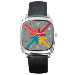 Arrows Center Inside Middle Square Metal Watch